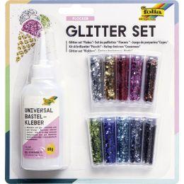 folia Glitter-Set Flocken, inkl. Dekokleber