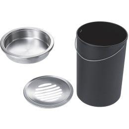 helit Stahl-Papierkorb mit Ascher, rund, schwarz