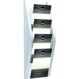 helit Wand-Prospekthalter, DIN A5 hoch, 4 Fächer, limette