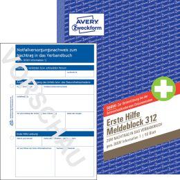 AVERY Zweckform Erste Hilfe Meldeblock 312, DIN A5, 50 Blatt