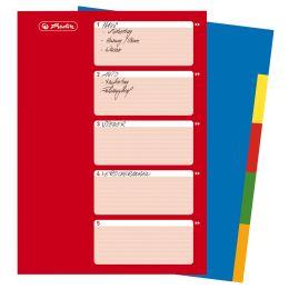 herlitz Kunststoff-Register, blanko, A4, farbig, 5-teilig