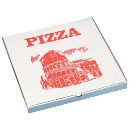 PAPSTAR Pizzakarton eckig, 300 x 300 x 30 mm, weiß/rot