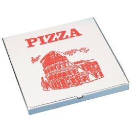 PAPSTAR Pizzakarton eckig, 330 x 330 x 30 mm, weiß/rot