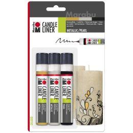 Marabu Wachsmalfarbe Candle Liner, Set Metallic