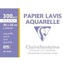 Clairefontaine Zeichenpapier Lavis Aquarelle, 240 x 320 mm