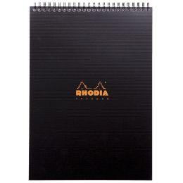 RHODIA Spiralnotizblock Notepad, DIN A4, kariert, schwarz