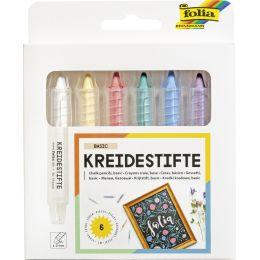 folia Kreidestifte-Set, farbig sortiert, 6er Etui