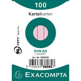 EXACOMPTA Karteikarten, DIN A8, liniert, rosa