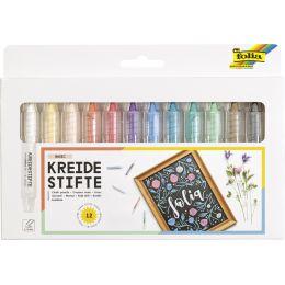 folia Kreidestifte-Set, farbig sortiert, 12er Etui