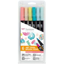 Tombow Doppelfasermaler DUAL BRUSH PEN ABT, 6er Set Candy