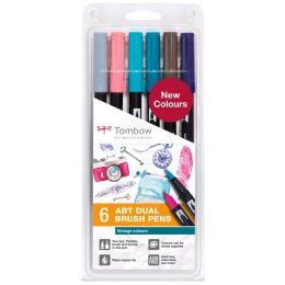 Tombow Doppelfasermaler DUAL BRUSH PEN ABT,6er Set Vintage