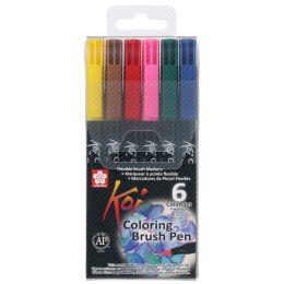 SAKURA Pinselstift Koi Coloring Brush, 6er Etui, Grundfarben
