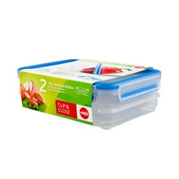 emsa Aufschnittbox CLIP & CLOSE, 2 x 0,6 Liter, transparent
