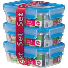 emsa Frischhaltedose CLIP & CLOSE, 3er Set, 0,55 Liter, blau