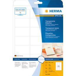 HERMA Inkjet-Etiketten, 210 x 297 mm, transparent