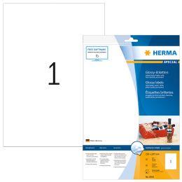 HERMA Hochglänzende Inkjet-Etiketten, 210 x 297 mm, weiß