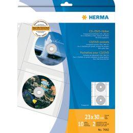 HERMA CD-/DVD-Prospekthülle für 2 CDs, A4, PP, transparent,