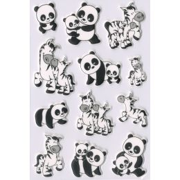 HERMA Sticker MAGIC Panda- und Zebrafamilien, Foam