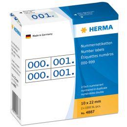 HERMA Nummern-Etiketten 0-999, 10 x 22 mm, rot, doppelt