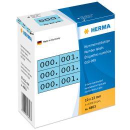 HERMA Nummern-Etiketten 0-999, 10 x 22 mm, schwarz, dreifach