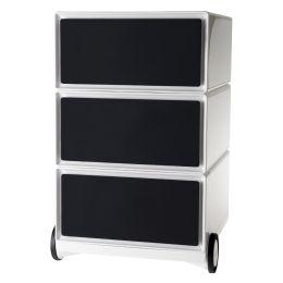 PAPERFLOW Rollcontainer easyBox, 3 Schübe, weiß / schwarz