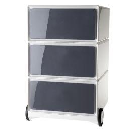 PAPERFLOW Rollcontainer easyBox, 3 Schübe, weiß / anthrazit