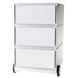 PAPERFLOW Rollcontainer easyBox, 3 Schübe, weiß / weiß