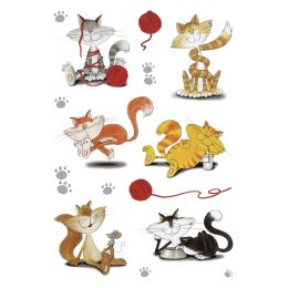 HERMA Sticker DECOR lustige Katzen, beglimmert