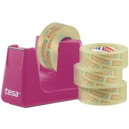tesa Tischabroller Easy Cut Smart, pink + 4 Rollen