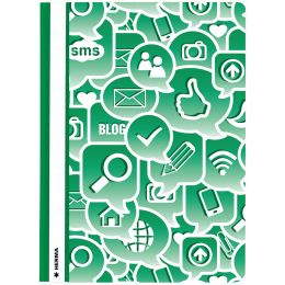 HERMA Schnellhefter Social Icons, DIN A4, aus PP, grün