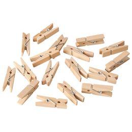 PAPSTAR Mini-Klammern, aus Holz, Länge: 35 mm, natur