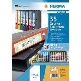HERMA HOME Ordnerr�cken-Etiketten, 192 x 38 mm, weiá