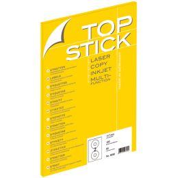 TOP STICK CD/DVD-Etiketten, Durchmesser: 117 mm, weiß