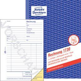 AVERY Zweckform Formularbuch Rechnung, A6, 2 x 50 Blatt