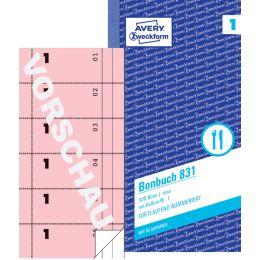 AVERY Zweckform Formularbuch Bonbuch, 105 x 198 mm, pink