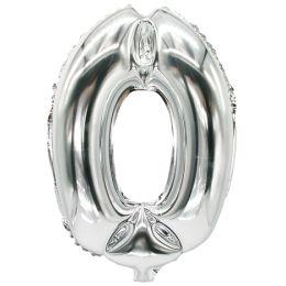 PAPSTAR Folienballon Zahlen, Ziffer: 0, silber