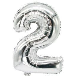 PAPSTAR Folienballon Zahlen, Ziffer: 2 , silber
