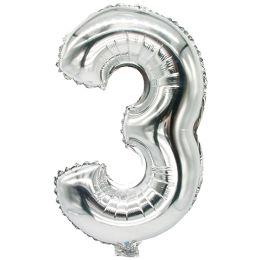 PAPSTAR Folienballon Zahlen, Ziffer: 3, silber