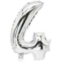 PAPSTAR Folienballon Zahlen, Ziffer: 4, silber