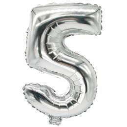 PAPSTAR Folienballon Zahlen, Ziffer: 5, silber