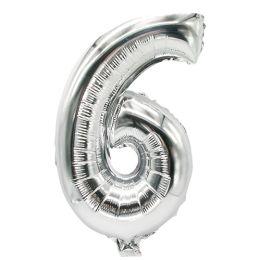 PAPSTAR Folienballon Zahlen, Ziffer: 6, silber