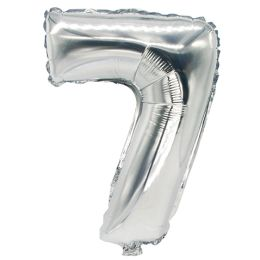PAPSTAR Folienballon Zahlen, Ziffer: 7, silber