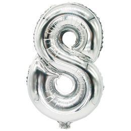 PAPSTAR Folienballon Zahlen, Ziffer: 8, silber