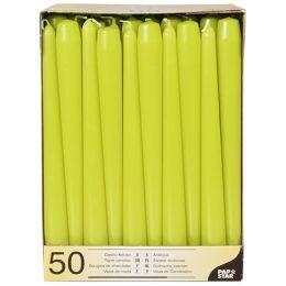 PAPSTAR Leuchterkerzen, 22 mm, limonengrün, 50er Pack