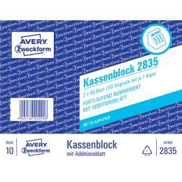 AVERY Zweckform Formularbuch Kassenblock, 2 x 50 Blatt
