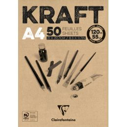 Clairefontaine Zeichenpapierblock KRAFT, DIN A4, 120 g/qm