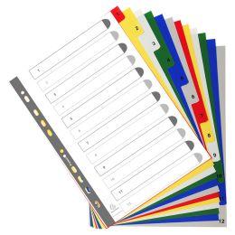 EXACOMPTA Kunststoff-Register, Zahlen, DIN A4, 12-teilig