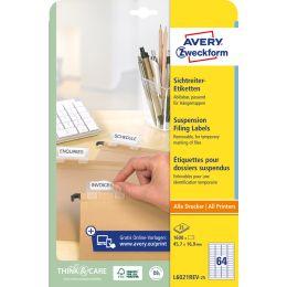 AVERY Zweckform Stick+Lift Sichtreiter-Etiketten, weiß