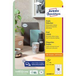 AVERY Zweckform Stick+Lift Etiketten, 63,5 x 42,3 mm, oval