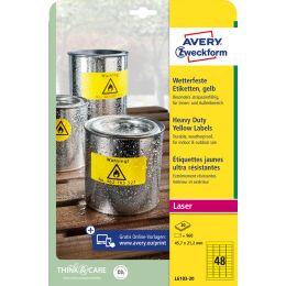 AVERY Zweckform Folien-Etiketten, 63,5 x 29,6 mm, gelb